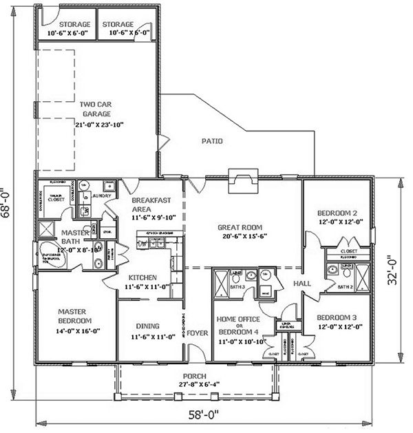 Cs1952 plan details for Thehousedesigners com home plans